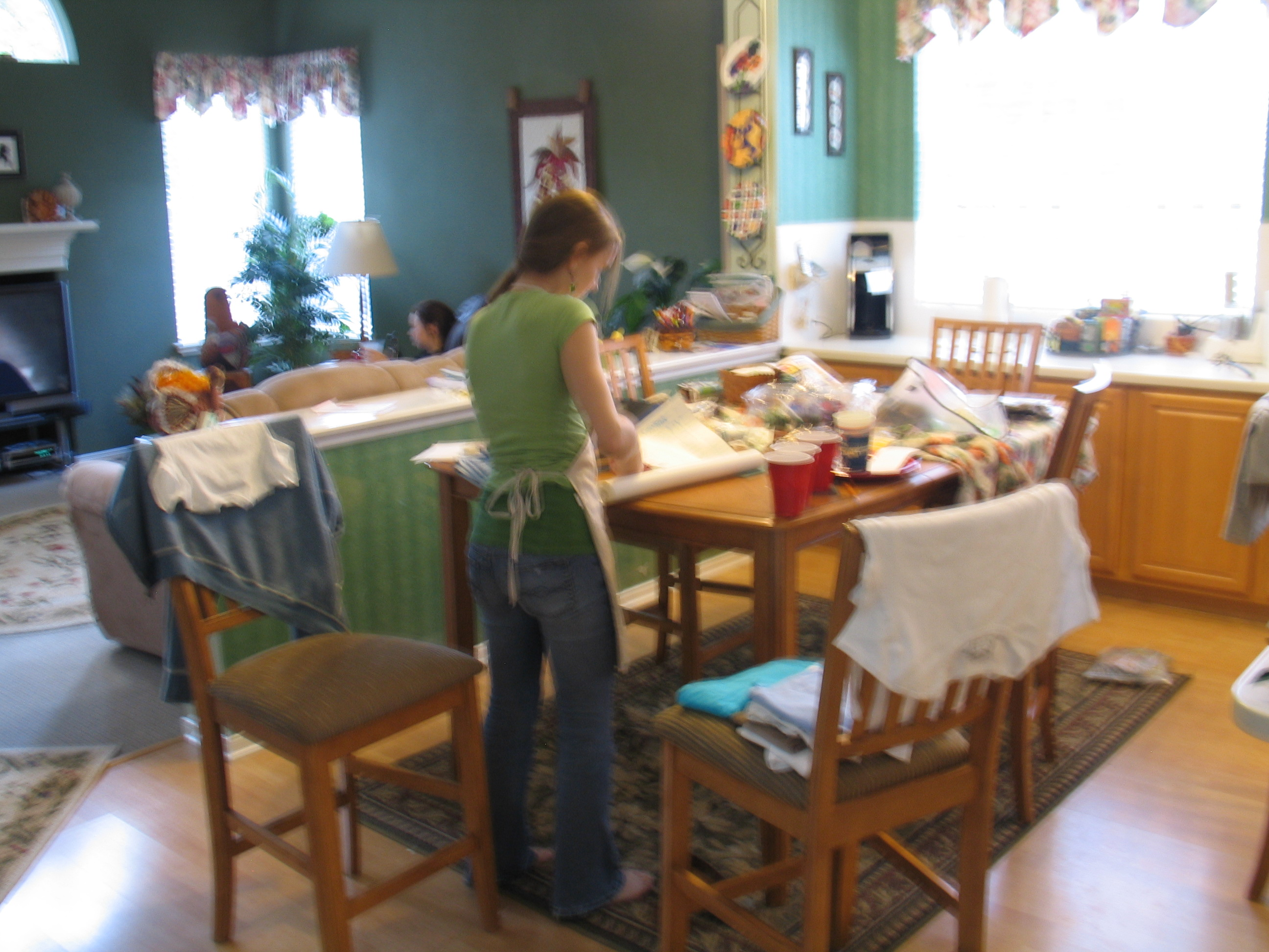 Suzanne working at home with her newly learned Silkscreening skills